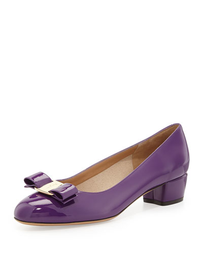 Salvatore Ferragamo Vara 1 Patent Bow Pump, Grape