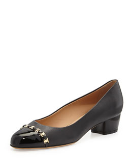 Salvatore Ferragamo Pim Leather Cap-Toe Pump, Nero
