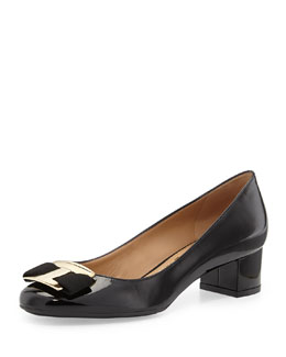 Salvatore Ferragamo Ninna Low-Heel Bow Pump, Nero