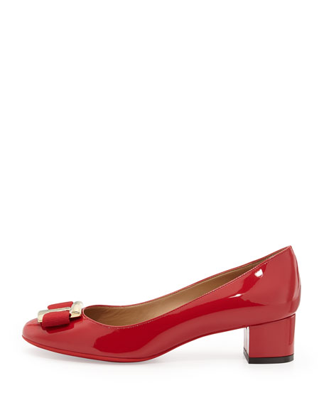 Low-Heel Bow Pump, Rosso
