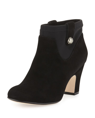 Taryn Rose Telly Suede Ankle Bootie, Black
