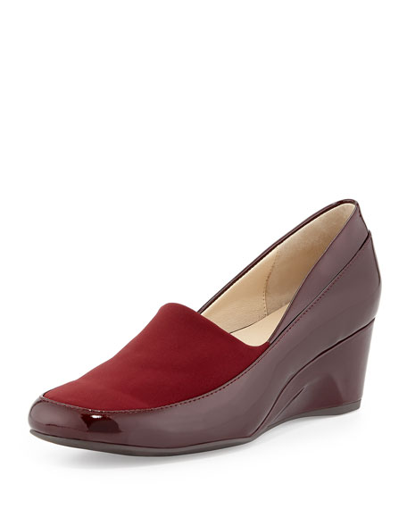 Taryn Rose Rabea Patent Stretch Wedge Pump, Merlot
