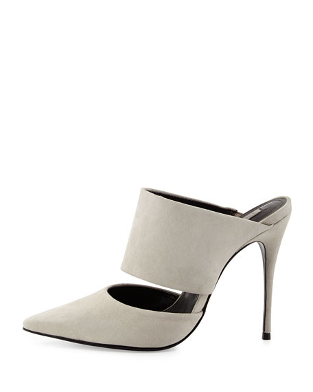 Quereda Suede Pointy-Toe Mule, Cement