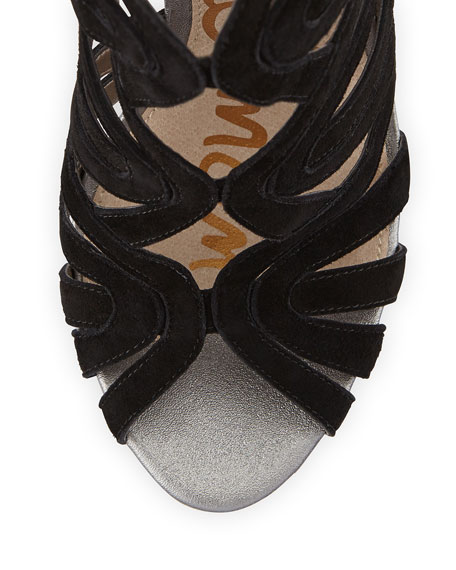 Eve Suede Caged Sandal, Black