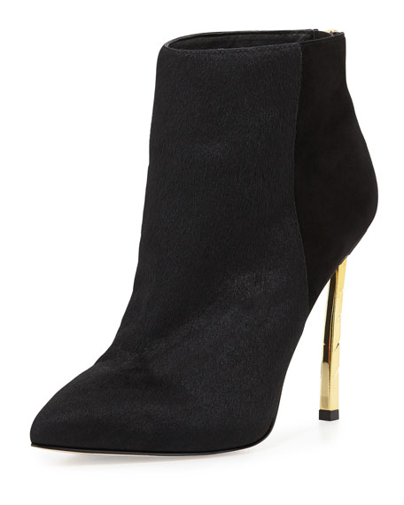 Sandy Calf Hair Combo Bootie, Black