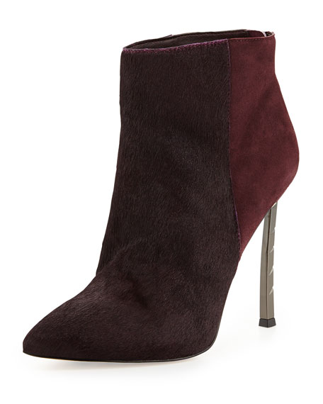 Sandy Calf Hair Combo Bootie, Burgundy