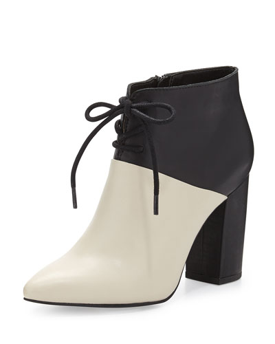 Seychelles Nonchalant Colorblock Leather Ankle Bootie, White/Black
