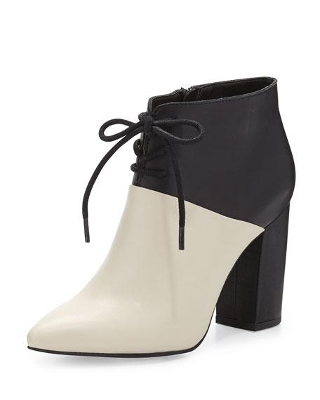 Nonchalant Colorblock Leather Ankle Bootie, White/Black