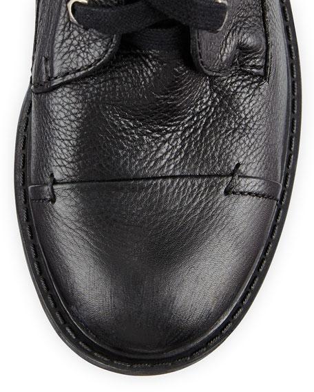 Darwin Pebbled Leather Combat Boot, Black