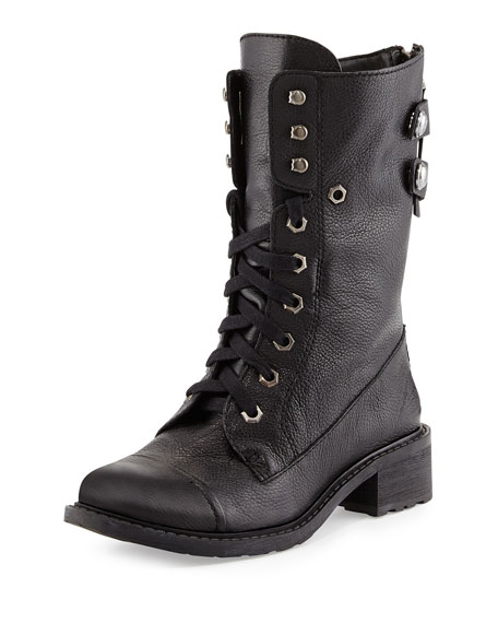Darwin Pebbled Leather Combat Boot, Black