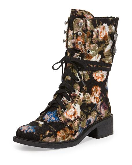 Darwin Floral Print Canvas Combat Boot