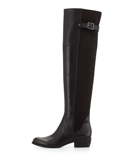 Jacob Leather Combo Knee Boot, Black