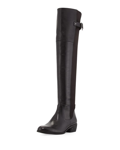 Sam Edelman Jacob Leather Combo Knee Boot, Black