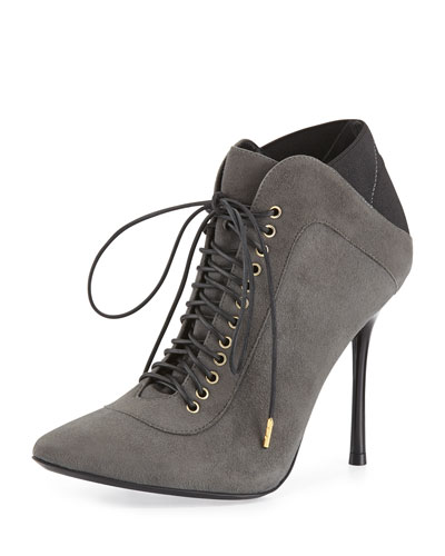 Alice + Olivia Doyle Suede Lace-Up Bootie