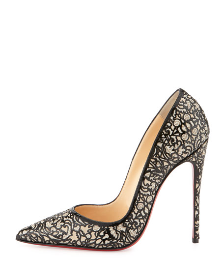 So Pretty Patent Glitter Red Sole Pump, Silver
