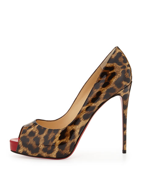 men's louis vuitton sneakers - Christian Louboutin New Very Prive Leopard-Print Patent Red Sole Pump