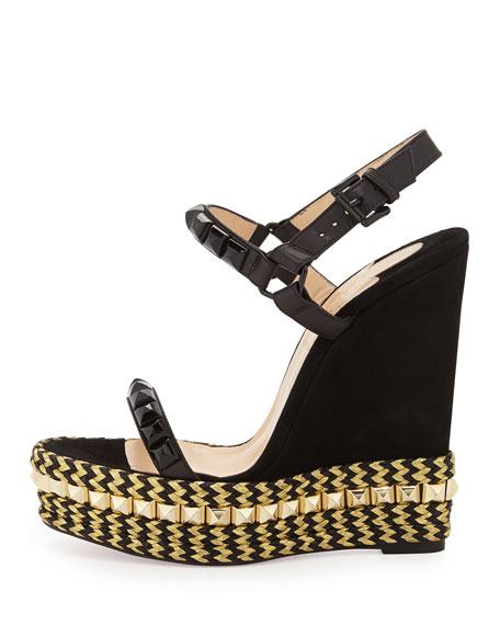 louboutins shoes - Christian Louboutin Cataclou Mixed-Media Red Sole Espadrille Sandal