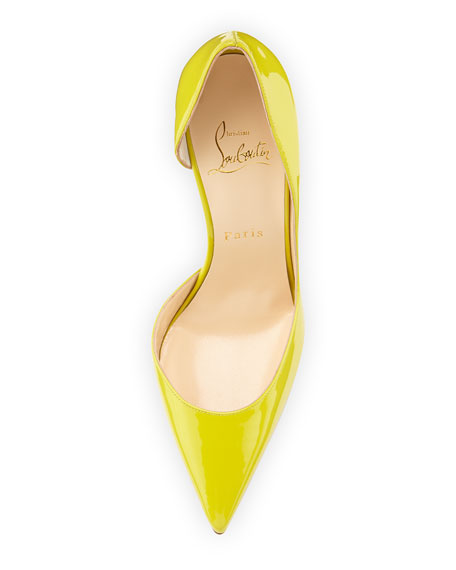 fake replica shoes - Christian Louboutin Iriza Patent Half d\u0026#39;Orsay Red Sole Pump, Mimosa