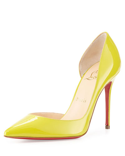 Christian Louboutin Iriza Patent Half d'Orsay Red Sole Pump, Mimosa