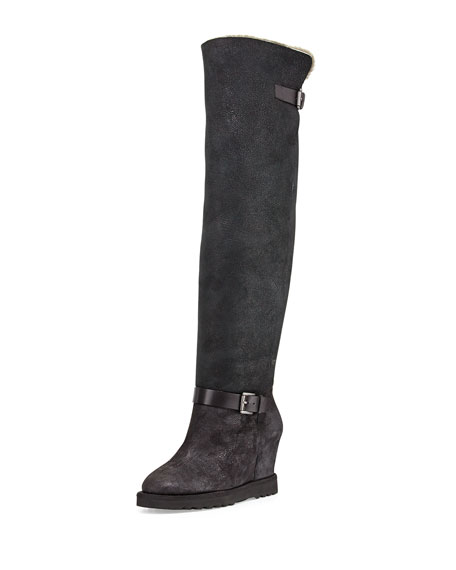 Yuka Shearling-Lined Fold-Over Boot, Black