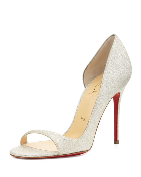 Christian Louboutin Toboggan Glitter Leather Red Sole Pump,