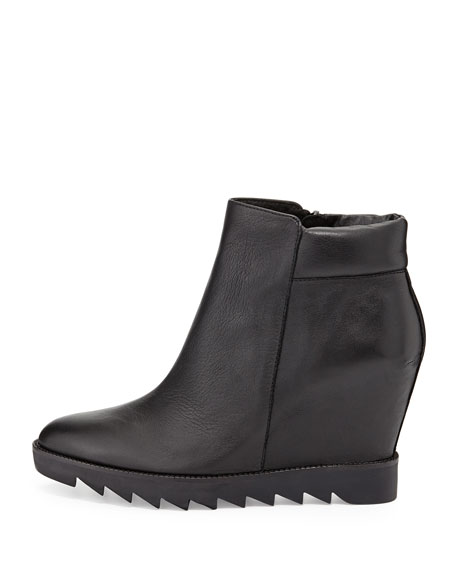 Iron Leather Wedge Bootie