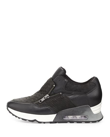 Lenny Snake-Embossed Zip-Up Sneaker, Black