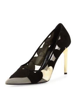 Diane von Furstenberg Bis Point-Toe Heart Pump, Black