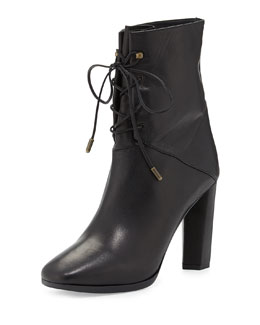 Diane von Furstenberg Paden Leather Lace-Up Bootie, Black