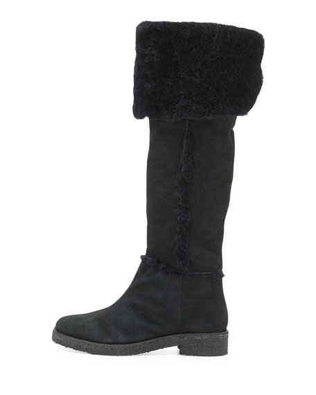 Adele Over-the-Knee Shearling Fur Boot, Black