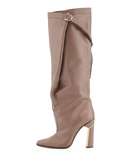 Tonya Runway Slouchy Knee Boot, Dark Taupe