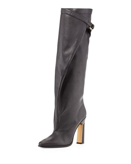 10 Crosby Derek Lam Tonya Runway Slouchy Knee Boot, Black