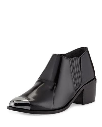 Saint & Libertine Shield Cap-Toe Ankle Boot, Black