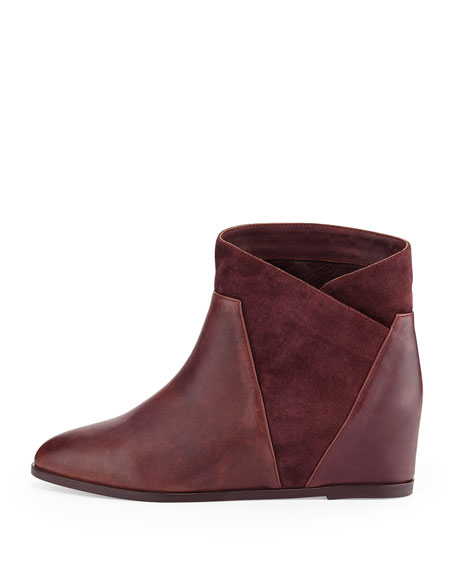 Crystal Suede Wedge Bootie, Port Wine