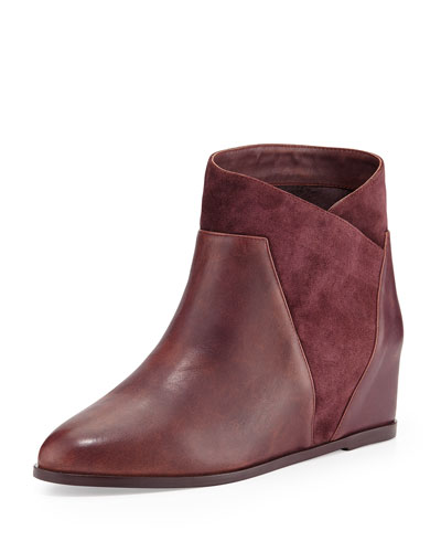Saint & Libertine Crystal Suede Wedge Bootie, Port Wine