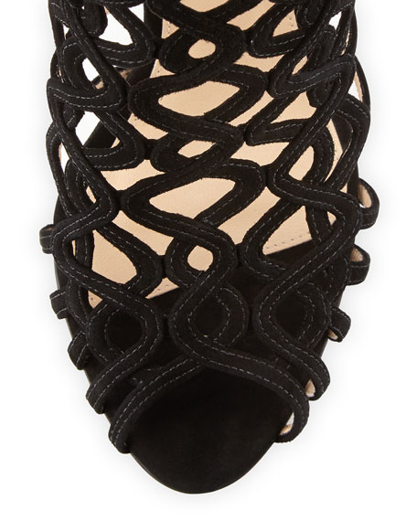 Suede Caged Tie-Back Sandal