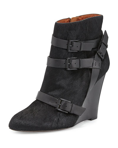 Rebecca Minkoff Maggie Calf Hair Wedge Bootie, Black