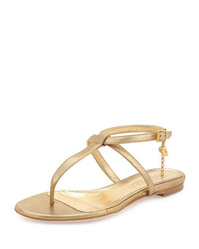 Skull-Detail Flat Thong Sandal, Gold