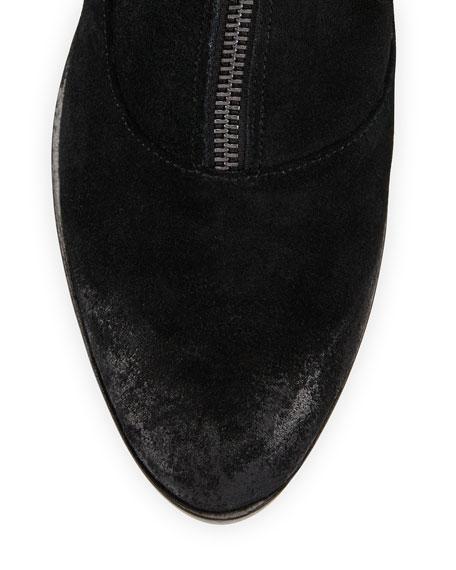 Alex Zip-Front Ankle Boot, Black