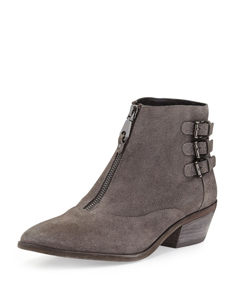 Alex Zip-Front Ankle Boot, Charcoal