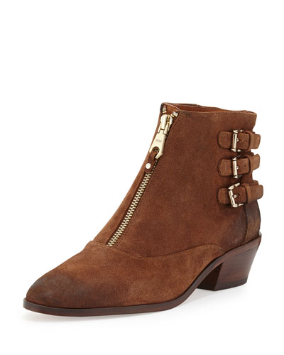 Alex Zip-Front Ankle Boot, Dark Brown
