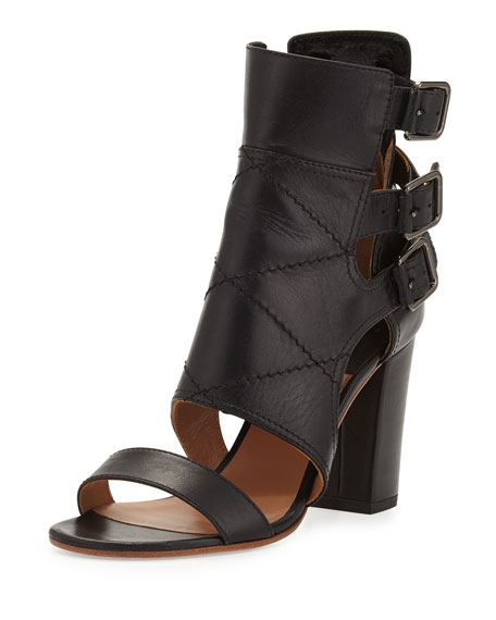 Laurence Dacade Triple Buckle Leather Bootie, Black