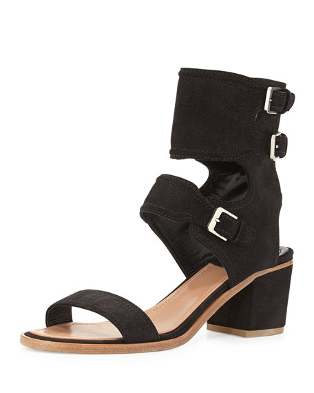 Laurence Dacade Suede Ankle Cuff Sandal, Black