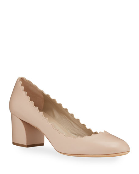 Chloé Leather Scallop-Trimmed Leather Block Heel Pumps jQksEv