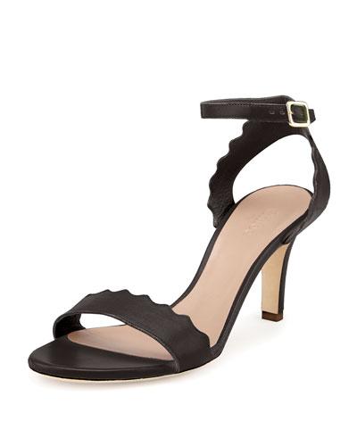 Scalloped Leather Sandal, Black