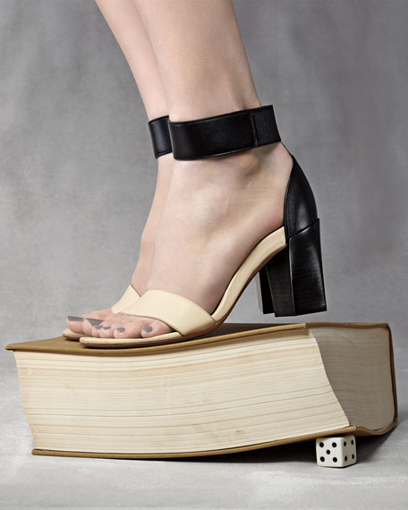 Two-Tone Block-Heel Sandal, Black/White