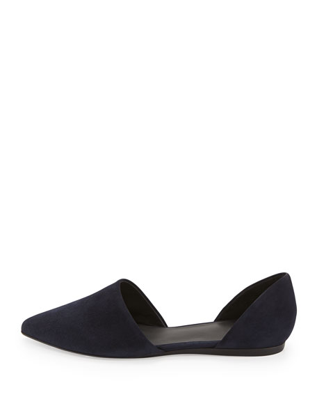 Nina Two-Piece Suede Flat, Ink Navy