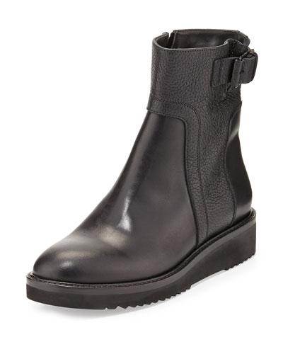 Vince Reid Leather Short Boot, Black
