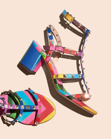 Rockstud Chevron Cage Sandal, Multicolor
