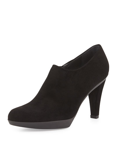 Stuart Weitzman Covered Suede Ankle Bootie, Black